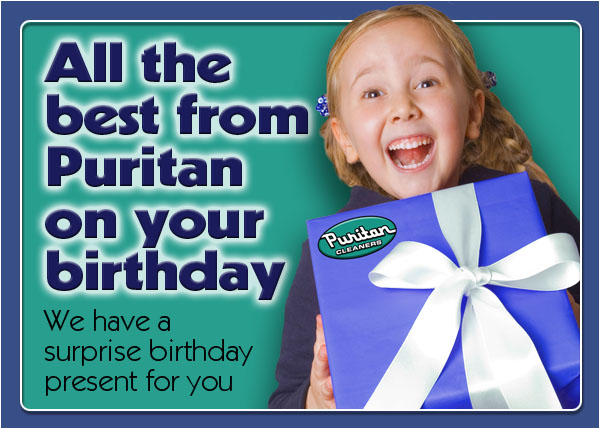 Puritan Cleaners Birthday Email