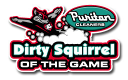 Puritan Cleaners Dirty Squirrel of the Game logo